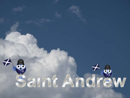 britannia: Saint Andrew text and patriotic bird waving flag against a cloudy blue sky