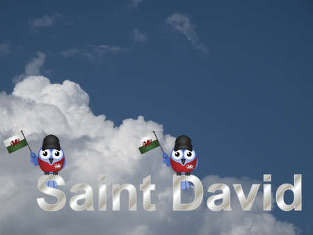 Saint David text and patriotic bird waving flag against a cloudy blue sky Stock Photo - 20452223