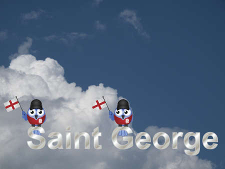 loyalist: Saint George text and patriotic bird waving flag against a cloudy blue sky Stock Photo