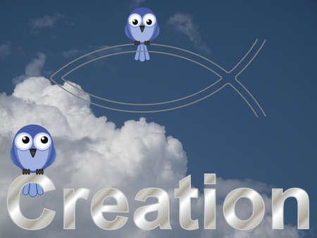 pez cristiano: Texto Creación y vicario de aves contra un cielo azul y nubes Foto de archivo