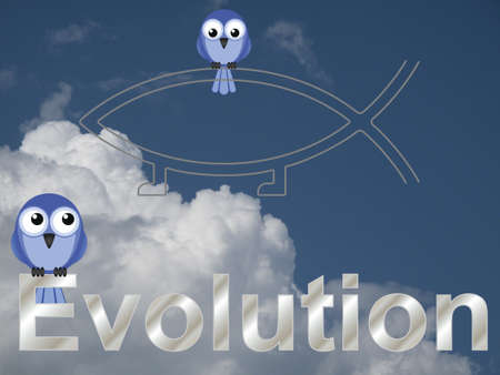 darwin: Evolution text and birds against a cloudy blue sky