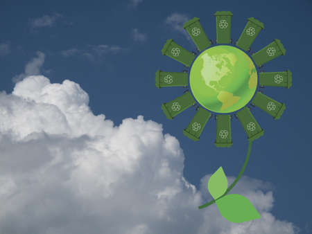 Recycling wheelie bin flower with green earth against a cloudy blue sky photo