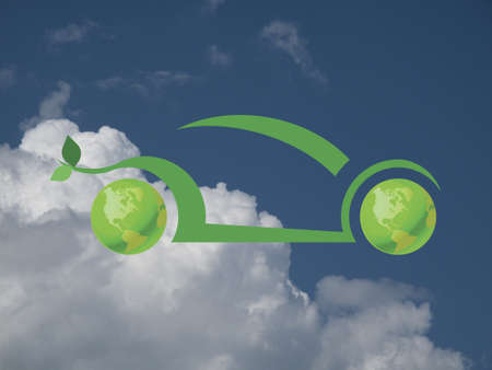 Environmentally friendly green car concept against a cloudy blue sky Stock Photo - 20616592