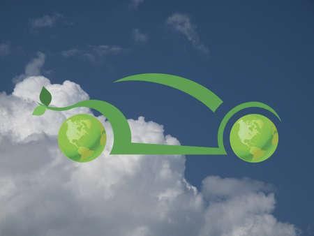 Environmentally friendly green car concept against a cloudy blue sky Stock Photo - 20616592