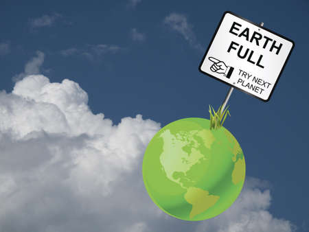 populate: Concept of earth capability to sustain human population against a cloudy blue sky