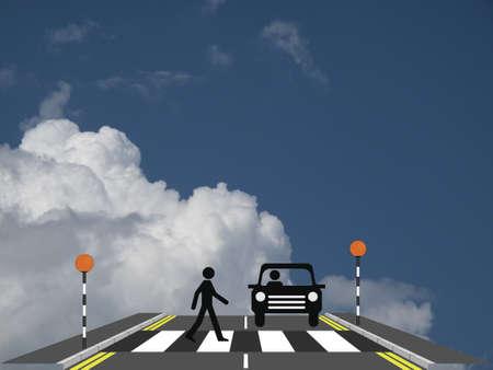 kerb: Pedestrian walking across a zebra crossing with car against a cloudy blue sky
