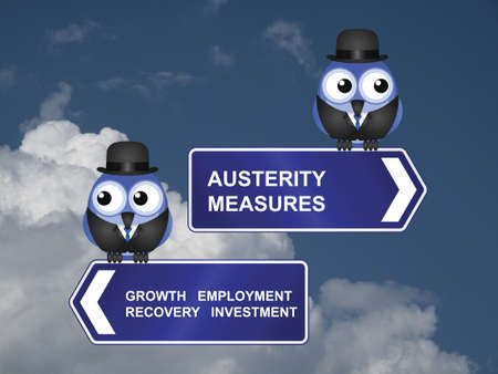 austerity: Government austerity measures signs against a cloudy blue sky Stock Photo