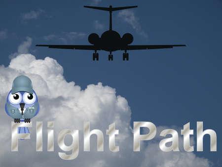 airman: Flight path text with comical bird aviator against a cloudy blue sky