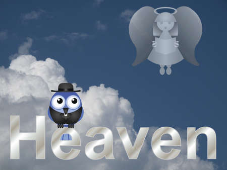 hereafter: Representation of heaven with bird vicar against a cloudy blue sky