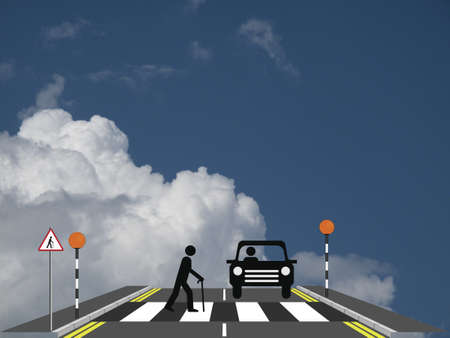Old man slowly walking across a zebra crossing against a cloudy blue sky Stock Photo - 20775274