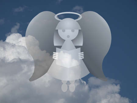 theological: Representation of an angel against a cloudy blue sky