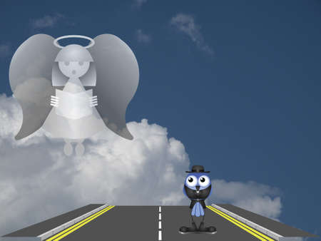 Conceptual road to salvation against a cloudy blue sky Stock Photo - 20775277
