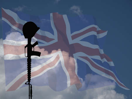 Representation of fallen UK service personnel against a cloudy blue sky