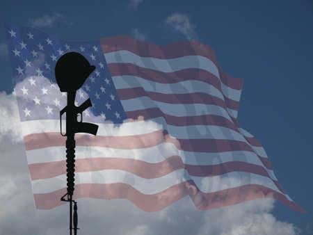 servicewoman: Representation of fallen USA service personnel against a cloudy blue sky