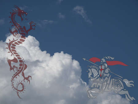 Saint George fighting the dragon against a cloudy blue sky Stock Photo - 20775283
