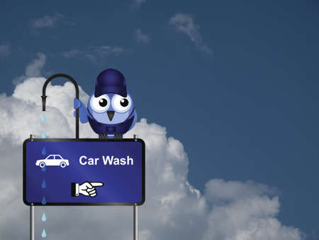 Comical car wash sign against a cloudy blue sky with copy space for own text Stock Photo - 20889320