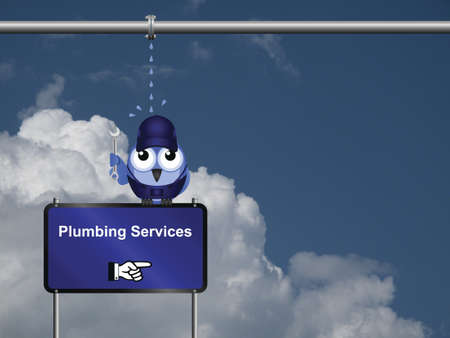 Comical plumbing services sign against a cloudy blue sky with copy space for own text Stock Photo - 20889321