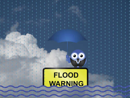 torrential: Comical flood warning sign against a cloudy blue sky