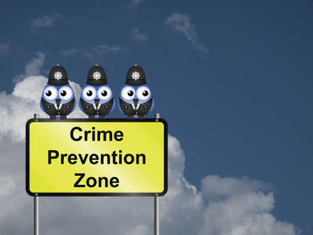 deterrence:  Comical UK crime prevention zone sign against a cloudy blue sky