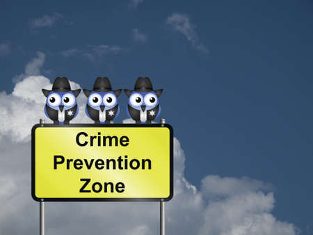Comical USA crime prevention zone sign against a cloudy blue sky Stock Photo - 21694848