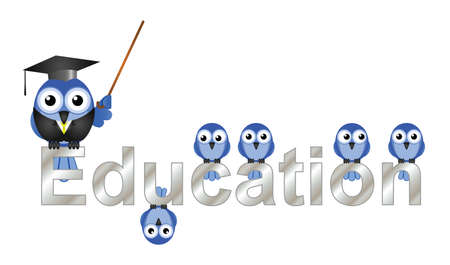 schoolwork: Education text and teacher bird and pupils isolated on white background Illustration