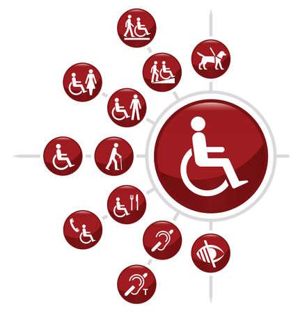 discapacidad: Red icono relacionado Discapacidad establece aislado sobre fondo blanco