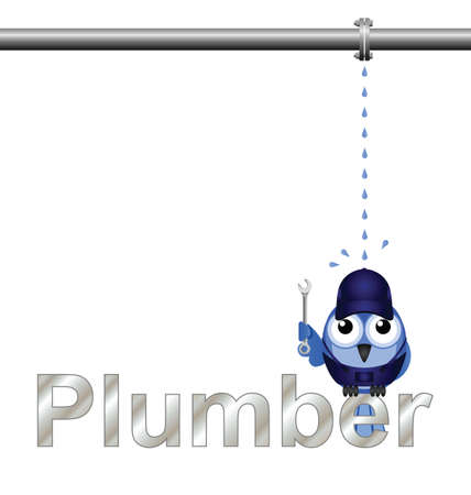 dungarees: Plumber with leaking pipe isolated on white background Illustration
