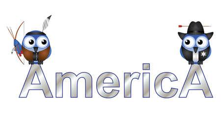 indios americanos: América del texto con los habitantes de aves aisladas sobre fondo blanco Vectores