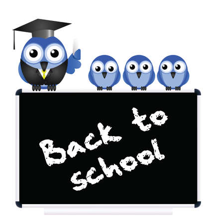 academia: Back to school message on blackboard with bird teacher and Pupils isolated on white background
