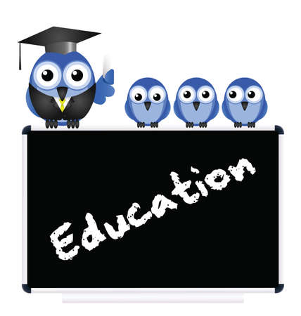 Education message on blackboard with bird teacher and Pupils isolated on white background Illustration