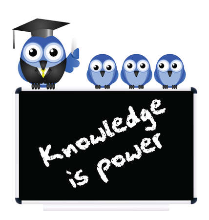 academia: Knowledge message on blackboard with bird teacher and Pupils isolated on white background
