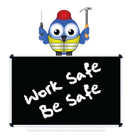safety hat: Construction work safe be safe message isolated on white background Illustration