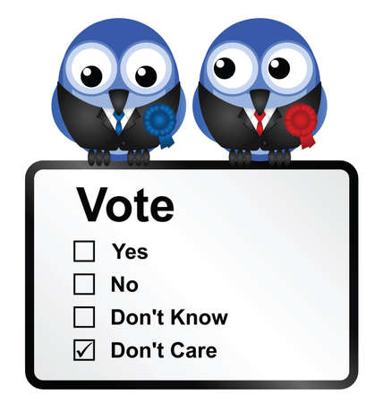 Bird politicians with disillusioned voters opinion isolated on white background  Illustration