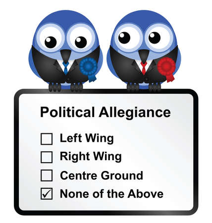 voters: Bird politicians with disillusioned voters opinion isolated on white background  Illustration