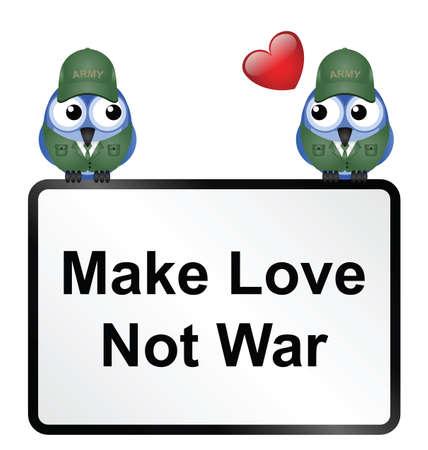 hacer el amor: Haz el amor y no la guerra signo