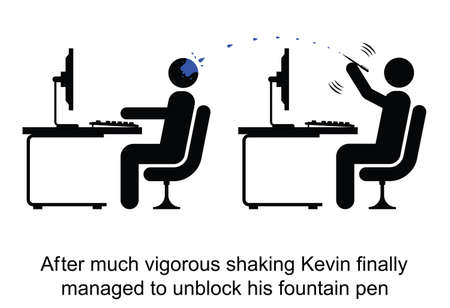 unblock: Kevin managed to unblock his fountain pen cartoon isolated on white background  Illustration