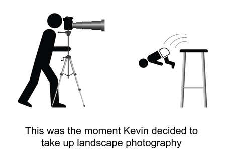 tripod: Kevin decided to take up landscape photography cartoon isolated on white background