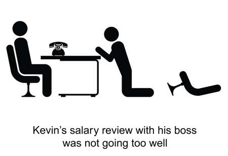salary man: Kevin salary review was not going too well cartoon isolated on white background