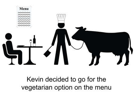 kevin: Kevin decided to opt for the vegetarian menu cartoon isolated on white background  Illustration