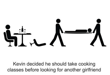 poorly: Kevin decided to take cooking lessons cartoon isolated on white background