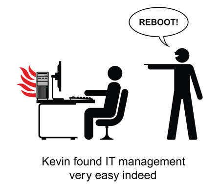 found it: Kevin found IT management easy cartoon isolated on white background  Illustration