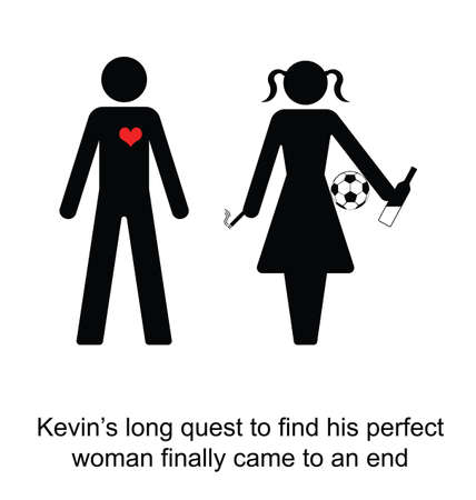 finally: Kevin finally found his perfect woman cartoon isolated on white background