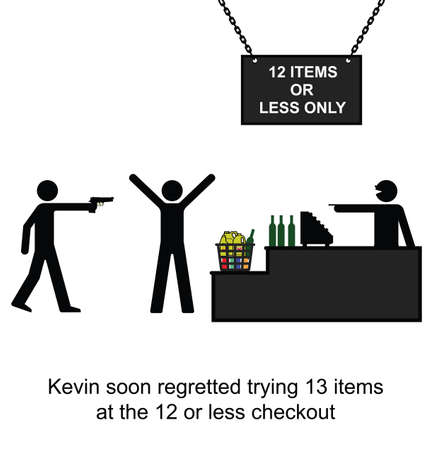 Kevin regretted cheating on the twelve item checkout cartoon isolated on white background