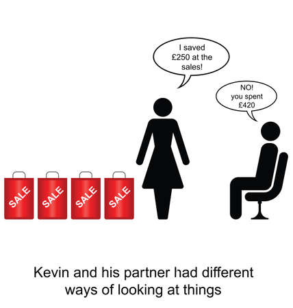 incompatible: Kevin and his partner had different opinions cartoon isolated on white background