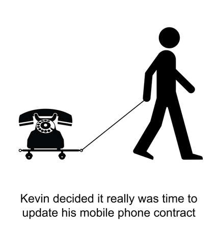technological: Kevin decided to update his mobile phone cartoon isolated on white background  Illustration