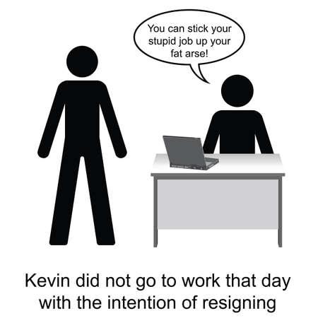 renuncia: Kevin inadvertidamente present� su aviso en el trabajo de dibujos animados aislado en el fondo blanco