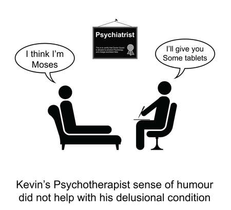 delusion:  Kevin hated his Psychotherapist sense of humour cartoon isolated on white background
