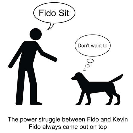 Kevin commands Fido to sit cartoon isolated on white background  Ilustrace