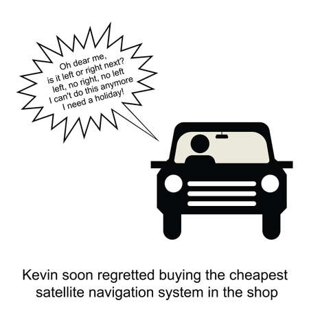 kevin: Kevin tested his new satellite navigation system cartoon isolated on white background