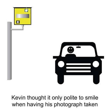 speeder: Kevin always smiled when having his photo taken cartoon isolated on white background